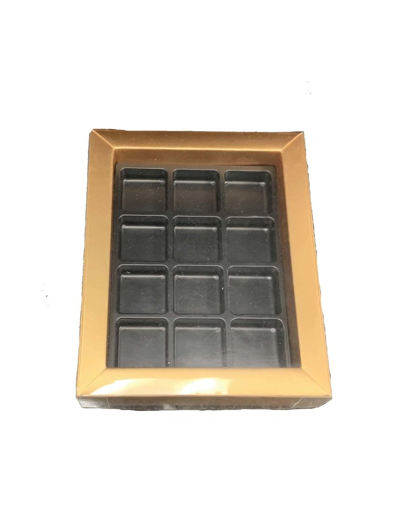 "The Pastry Depot Chocolate box - gold - 5.5x6.75x1.25"" (12 cavity)"