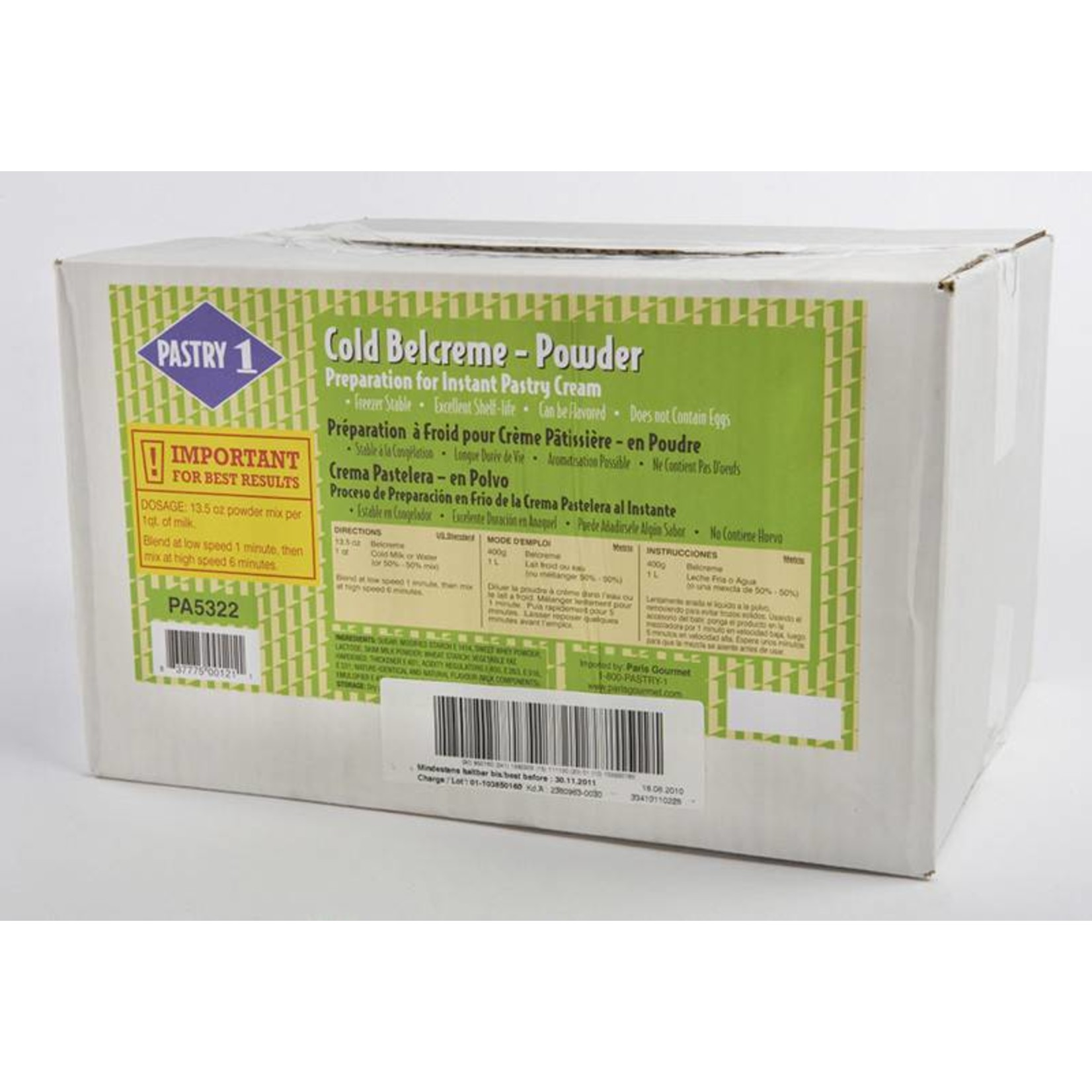 Pastry 1 Pastry 1 - Pastry cream mix, COLD process - 11 lb, PA5322