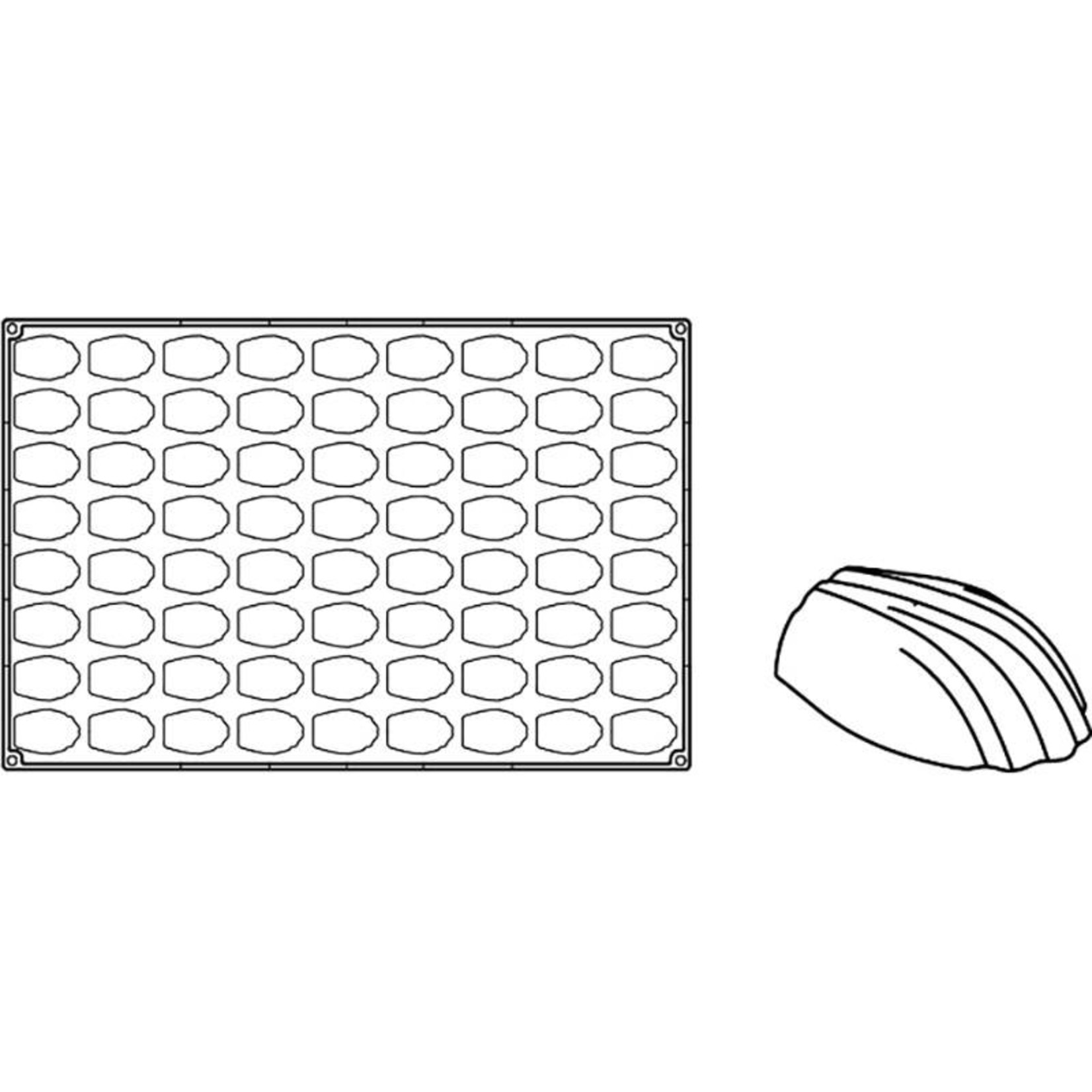 Pavoni Pavoni - Pavoflex silicone mold, Mini madeleine, Mignon (72 cavity), PX305