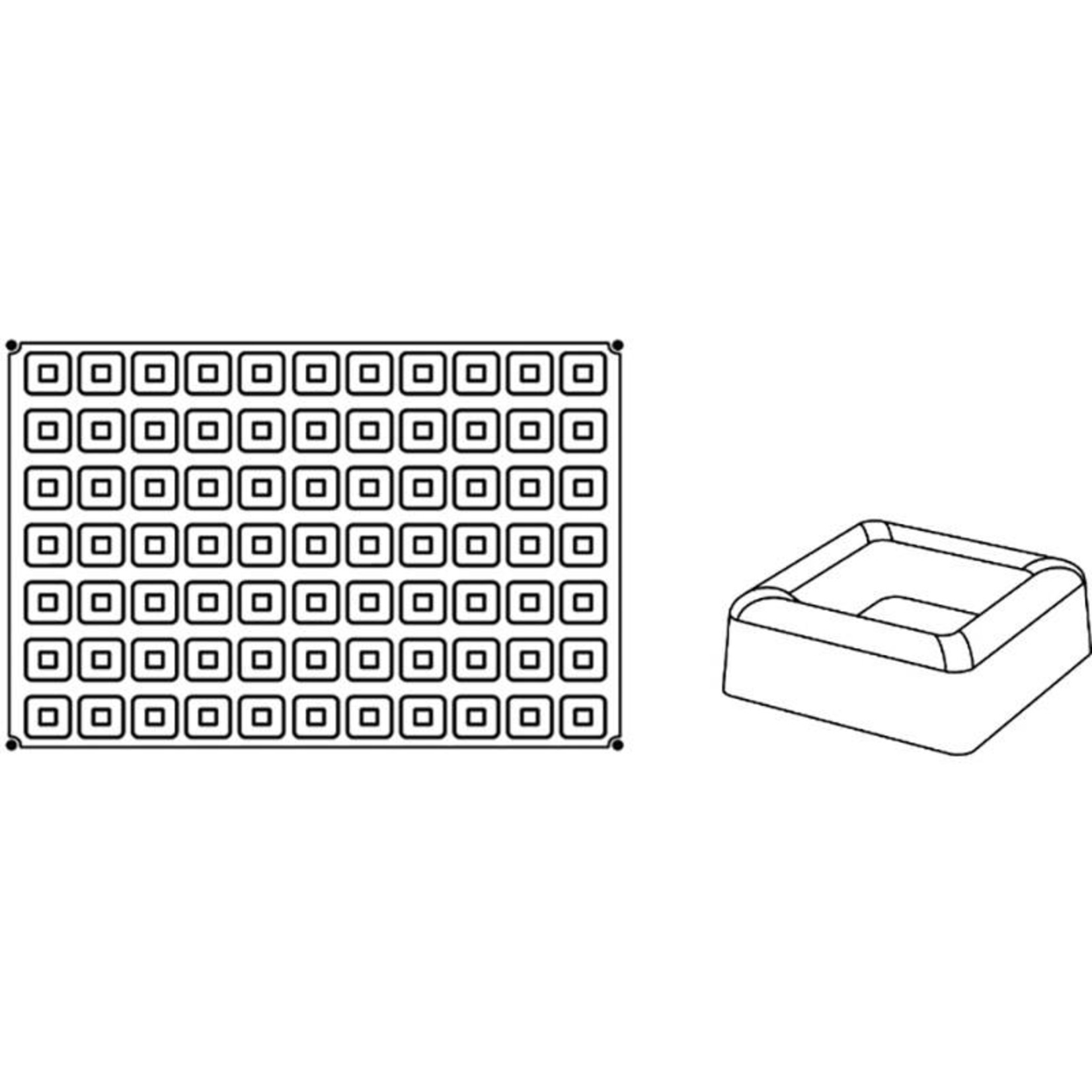 Pavoni Pavoni - Pavoflex silicone mold, Savarin square, Mignon (77 cavity), PX046