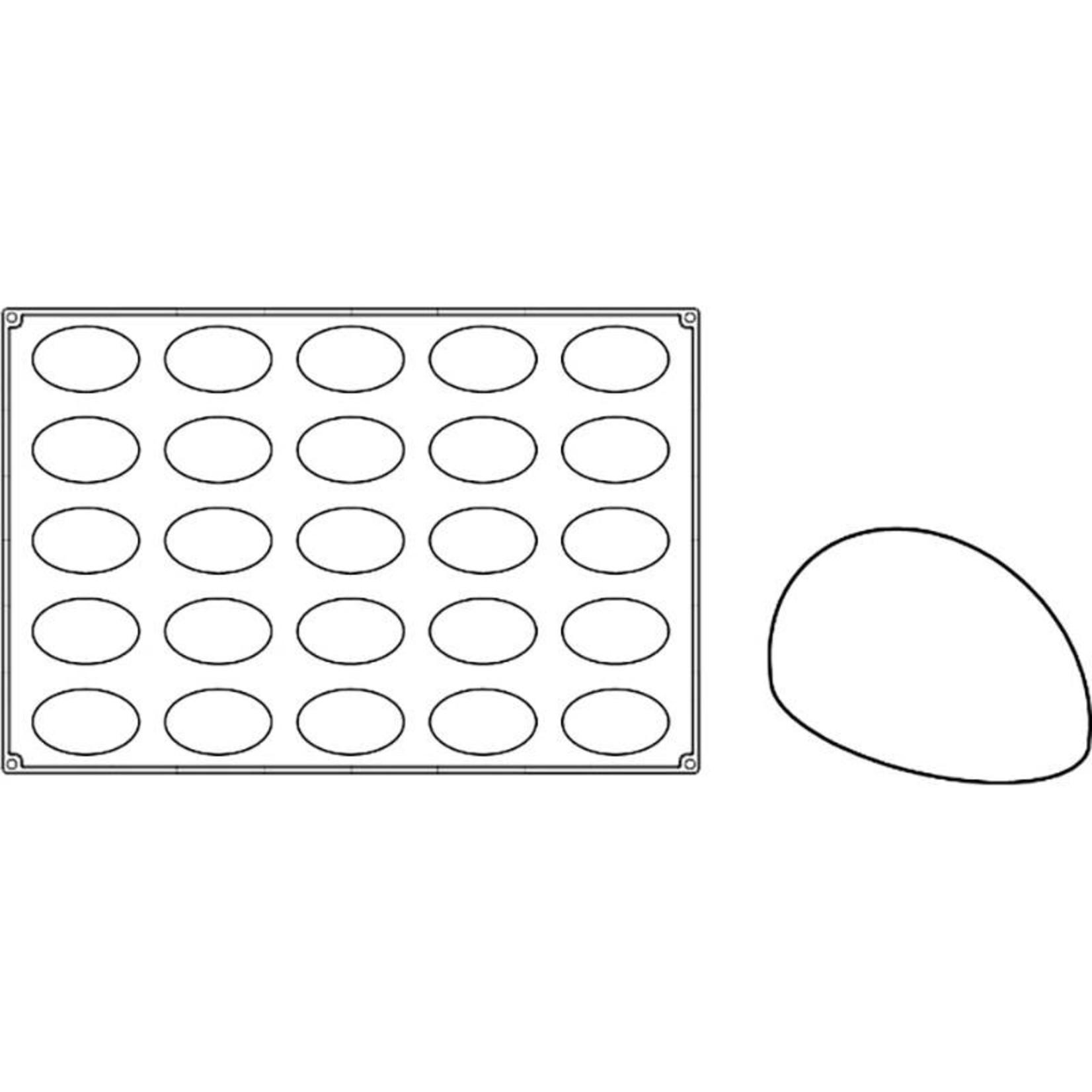 Pavoni Pavoni - Pavoflex silicone mold, Oval, Monoporzione (26 cavity), PX067