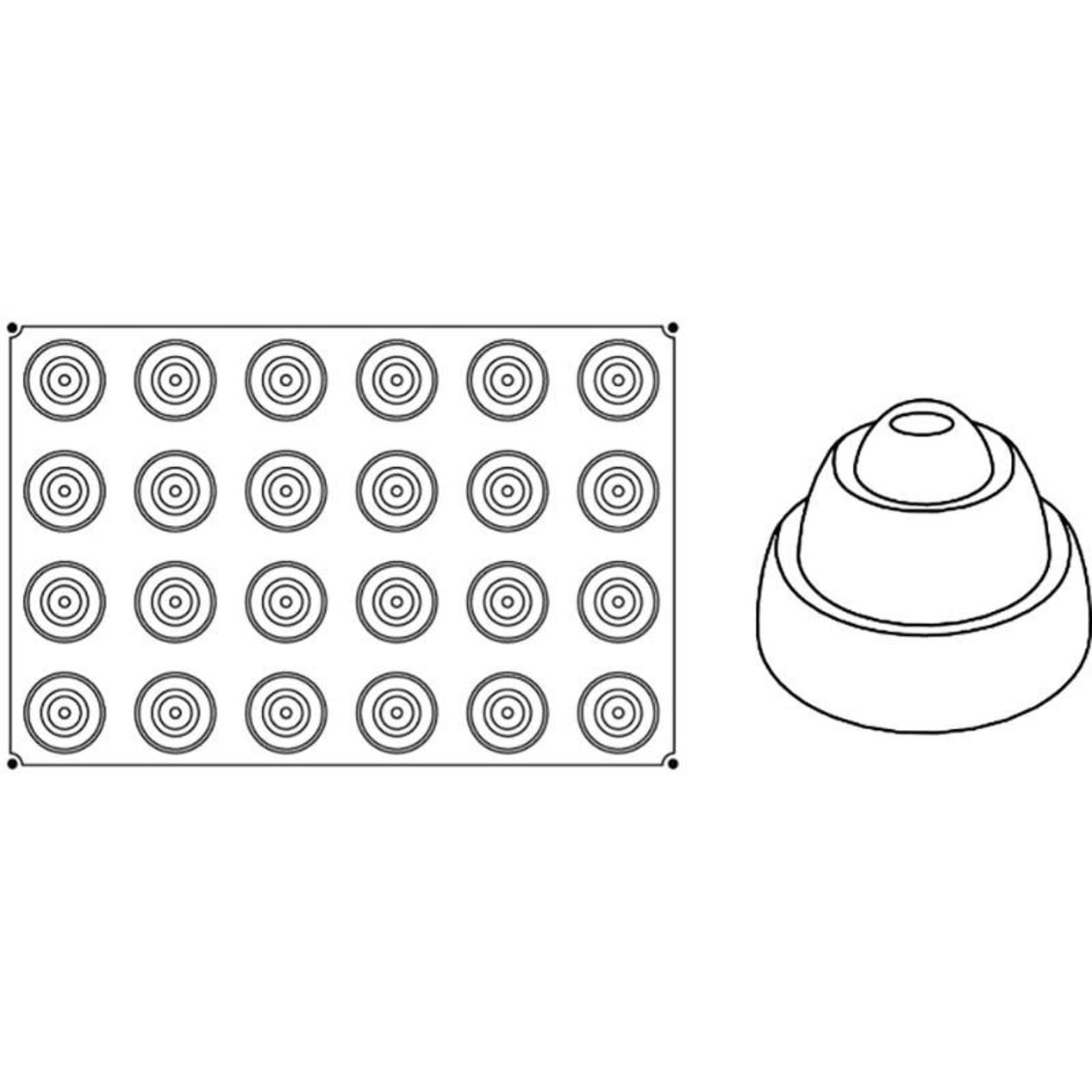 Pavoni Pavoni - Pavoflex silicone mold, Ring, Monoporzione (24 cavity), PX034