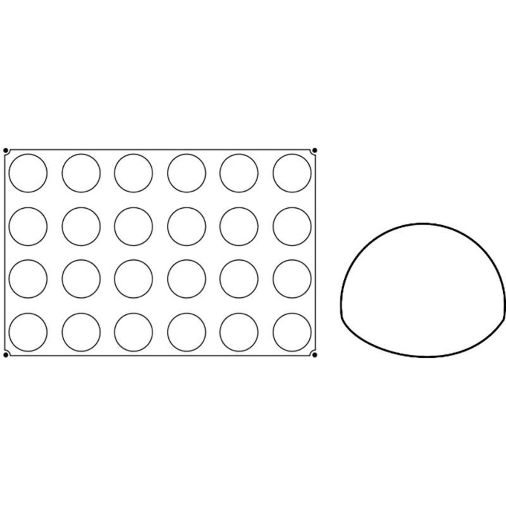 Pavoni Pavoni - Pavoflex silicone mold, Semisfera, Monoporzione (24 cavity), PX001