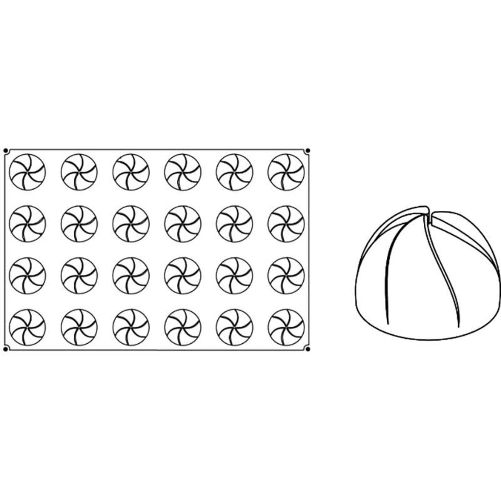 Pavoni Pavoni - Pavoflex silicone mold, Vertigo, Monoporzione (24 cavity), PX033