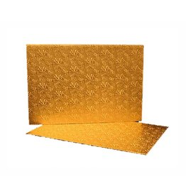 The Pastry Depot Cake board - Gold foil log pad - 11.75x5.75''