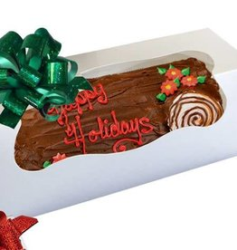 Pastry Depot Cake box - Yule log w/window, White - 12x6x6''