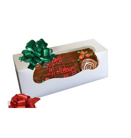 The Pastry Depot Cake box - Yule log w/window, White - 12x6x6''