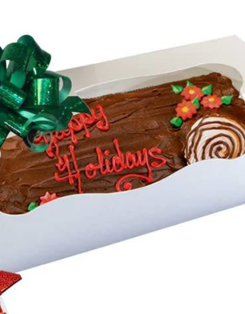 Pastry Depot Cake box - Yule log w/window, White - 12x6x6''