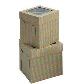 Whalen Whalen - Cake box - Corrugated w/window, Striped - 10x10x12''