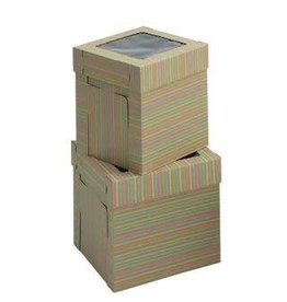 Whalen Whalen - Cake box - Corrugated w/window, Striped - 10x10x12''