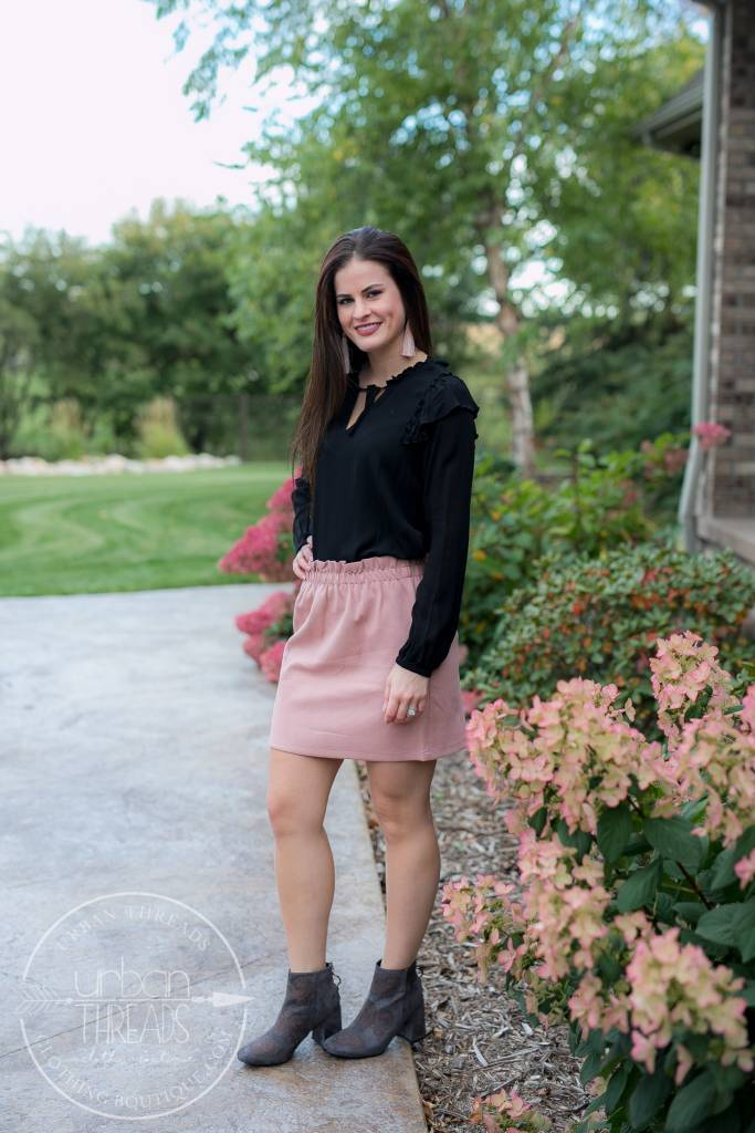 Blush Suede Mini Skirt