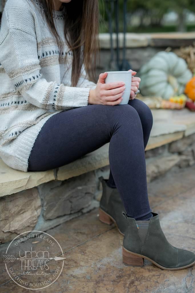 Nikibiki Ribbed Charcoal Leggings