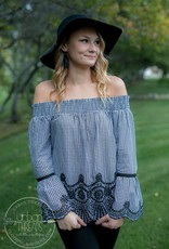 Off Shoulder Crochet & Embroidery Top