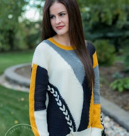 Color Block Cable Knit Sweater