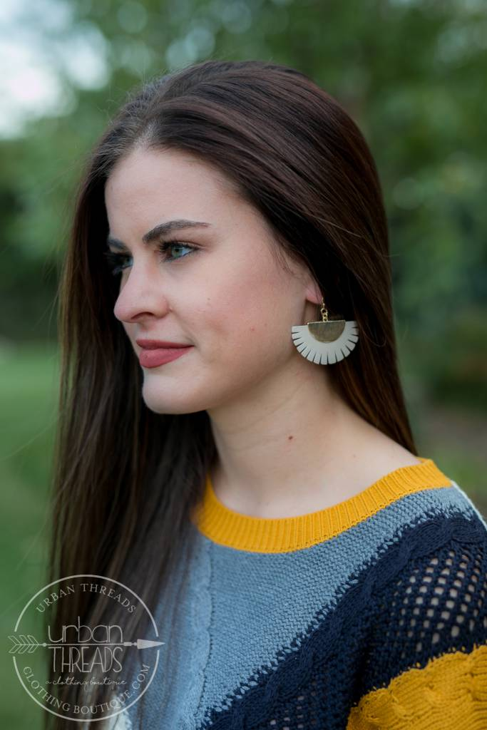 Ivory Leather Trim Earrings
