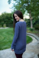 Monoreno Blue Embroidered Tunic