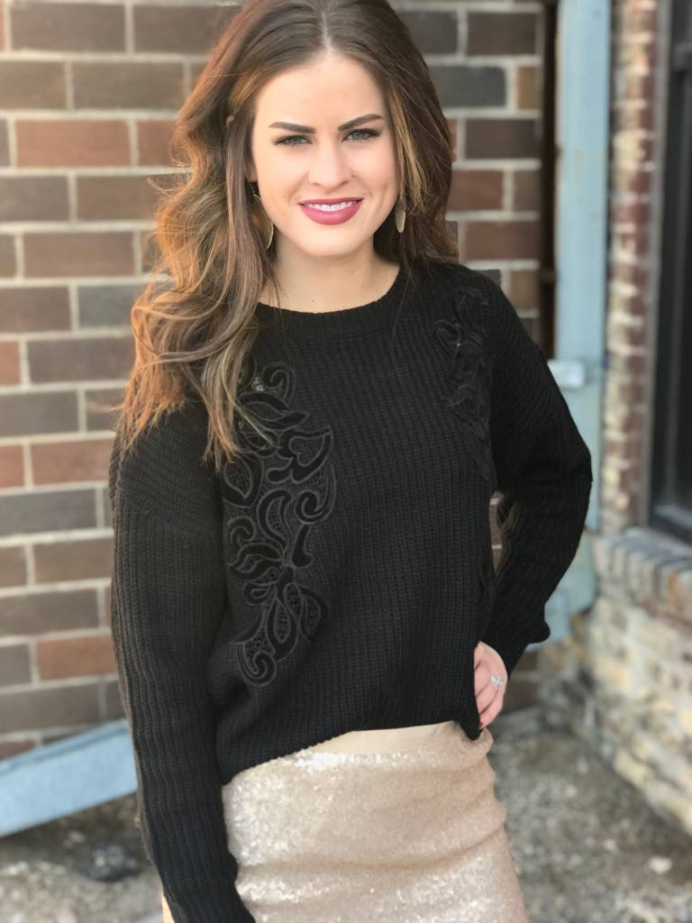 Black Sweater with Velvet Embroidery