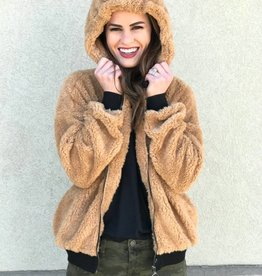 Camel Teddy Zip-Up