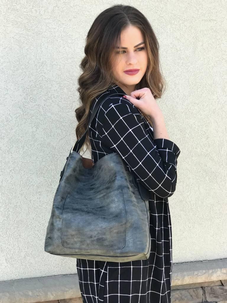 Grey Metallic Tote Bag