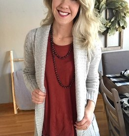 Gray Cable Knit Cardigan