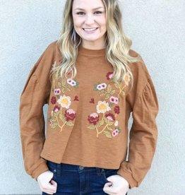 Mustard Embroidered Sweatshirt