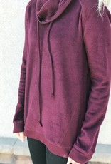 Burgundy Cowl Neck Sweatshirt