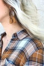 Crescent Mustard Tassel Earring