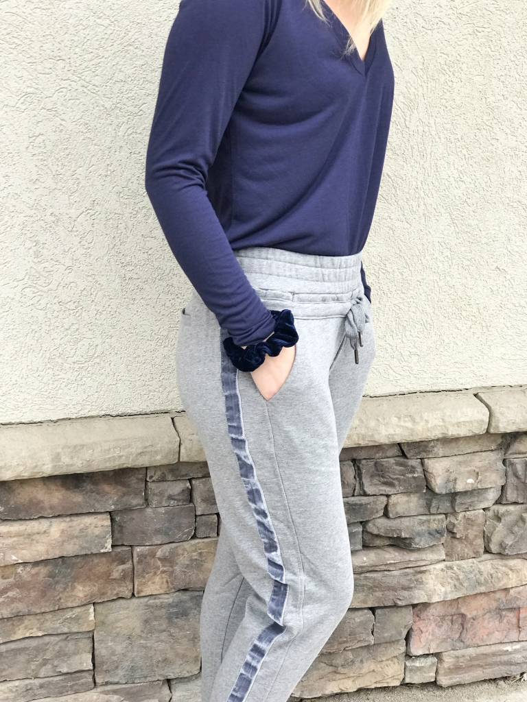 Grey Sweatpants with Velvet Detail