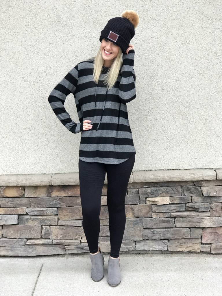 Striped Draw String Sweatshirt