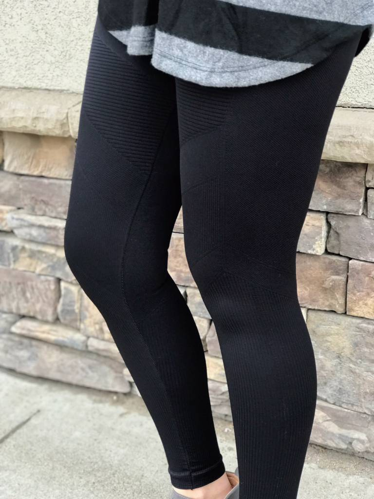 Black Solid Moto Legging