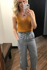 Paper Crane Blue Striped Button Pants