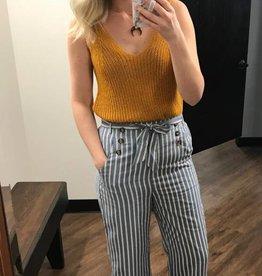 Paper Crane Blue Striped Button Pants