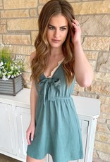 Paper Crane Olive Linen Dress