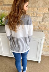Draped Striped Cardigan