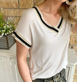 Dex Clothing White Trim Top