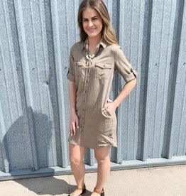 Dex Clothing Khaki Button Up Dress