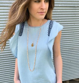 Dex Clothing Chambray Embroidered Top
