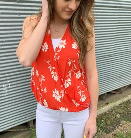 Red Floral Tank Top