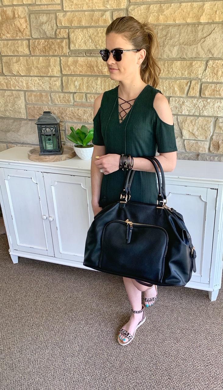 Hunter Green Cold Shoulder Dress