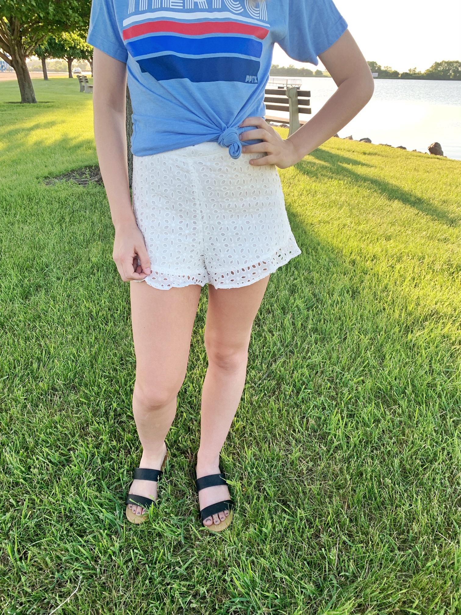 White Crocheted Ruffled Shorts