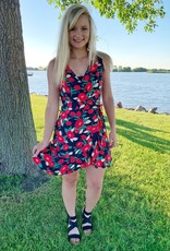 Lush Clothing Black/Red Floral Sleeveless Wrap Dress