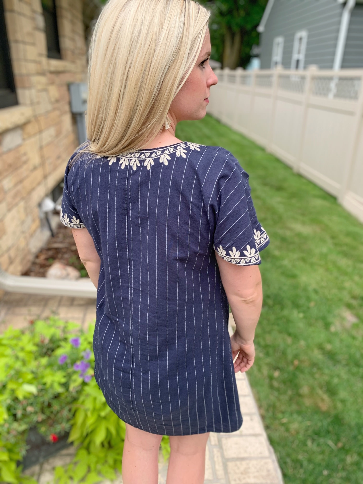 THML Navy Stripe Embroidered Dress
