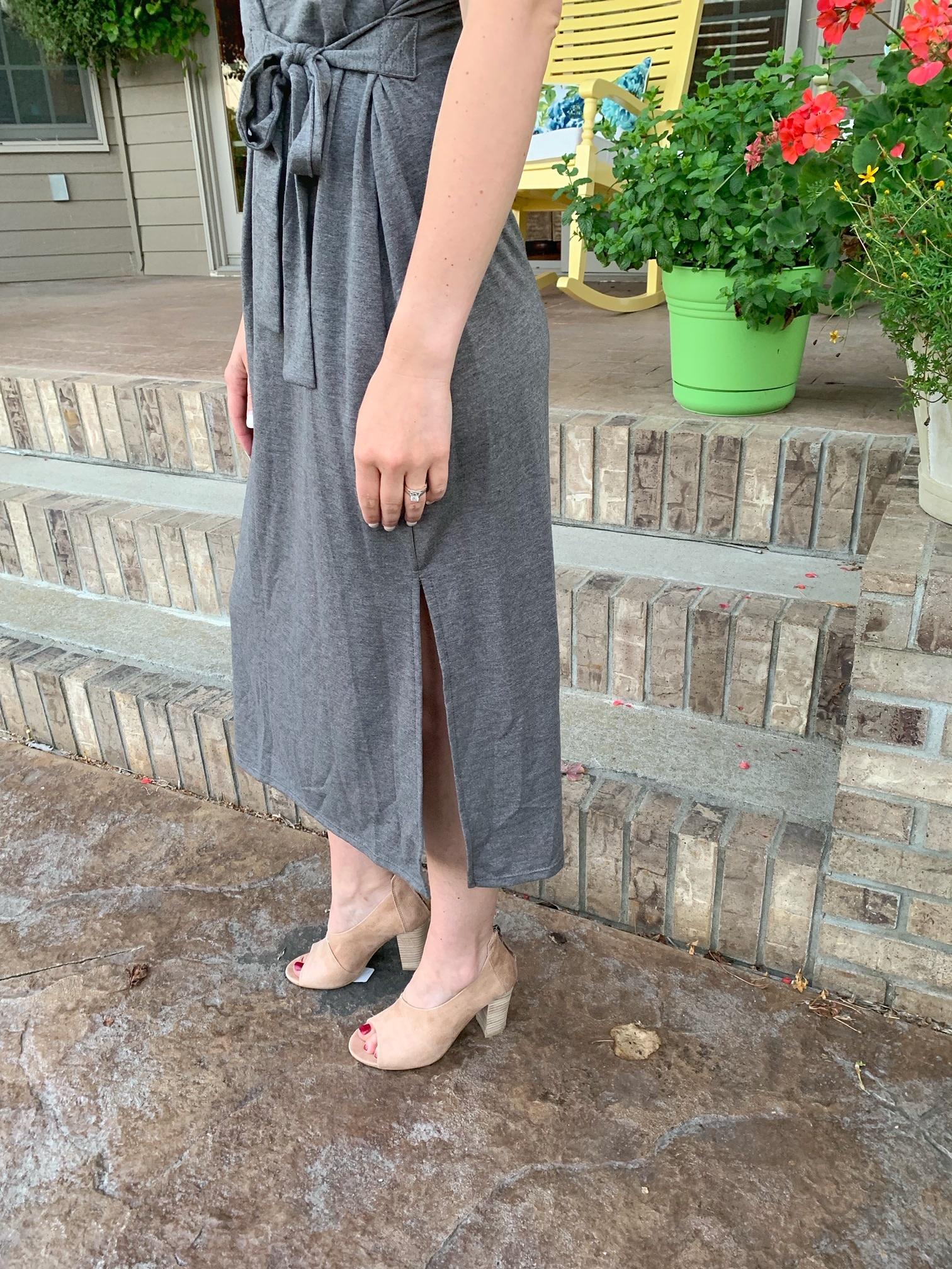 Gray Jersey Midi Dress