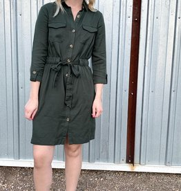 Olive Button Up Dress
