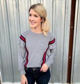 Varsity Stripe Ruffle Sweater