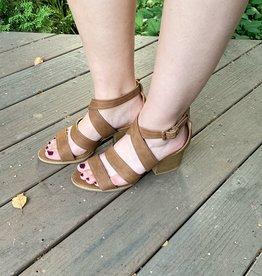 qupid Cognac Strappy Heel