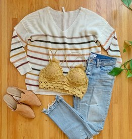 Cream Striped Pullover