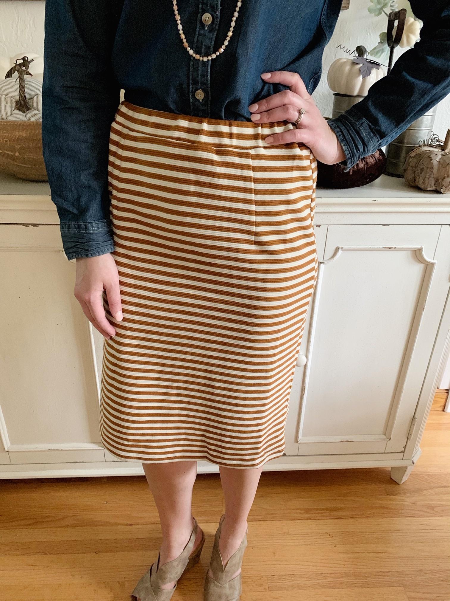 Mustard Striped Pencil Skirt