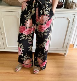 Angie Black Floral Pants