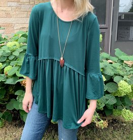 Hunter Green Ruffled Top